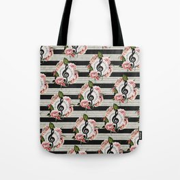 Musical Treble Clef with Watercolor Roses Pattern Tote Bag