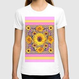 Pink Color & Yellow Sunflowers Garden Pattern Art T-shirt