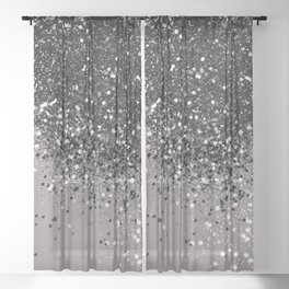 Silver Gray Glitter #1 #shiny #decor #art #society6 Sheer Curtain
