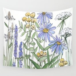 Asters and Wild Flowers Botanical Nature Floral Wall Tapestry