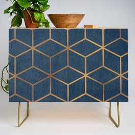 Dark Blue and Gold - Geometric Textured Cube Design Credenza