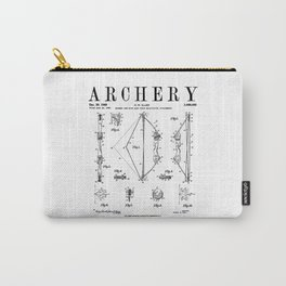 Archery Compound Bow Old Vintage Patent Drawing Print Carry-All Pouch