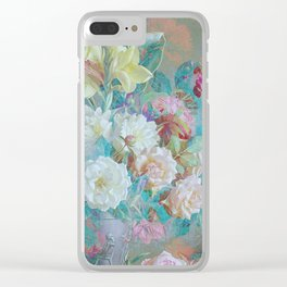 Vintage pastel retro roses Clear iPhone Case
