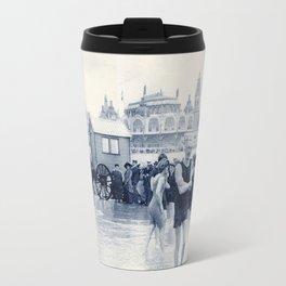 On the beach in 1900, history swimwear Travel Mug