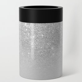 Trendy modern silver ombre grey color block Can Cooler