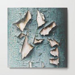 Rustic old light blue green peeling paint Metal Print