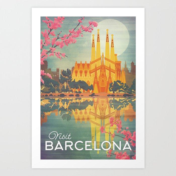 Barcelona Spain Vintage Travel Poster Art Print By