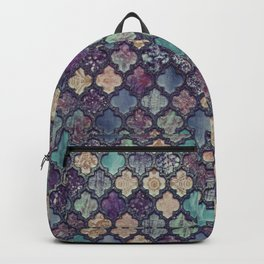 Moroccan Tile Design In Retro Colors Backpack