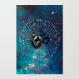 Om & Flower of Life Canvas Print