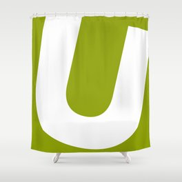Sans Serif U. White on Green. Shower Curtain
