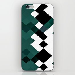 Emerald Green White Black Geometrical Pattern iPhone Skin