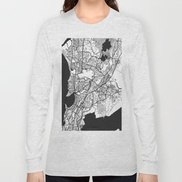 Mumbai Map Gray Long Sleeve T-shirt