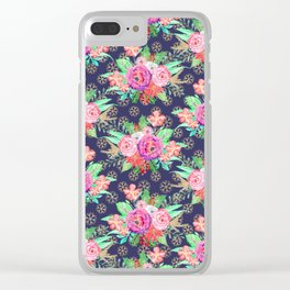 Pretty Christmas floral and snowflakes design Clear iPhone Case