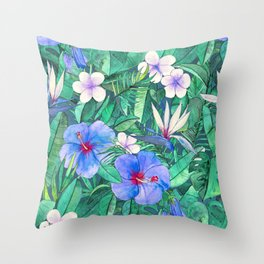 White Bird of Paradise & Blue Hibiscus Tropical Garden Throw Pillow