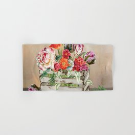 Country Flowers in a Wooden Crate Hand & Bath Towel