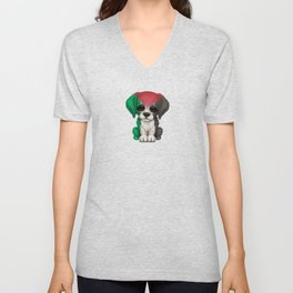 Cute Puppy Dog with flag of Palestine Unisex V-Neck