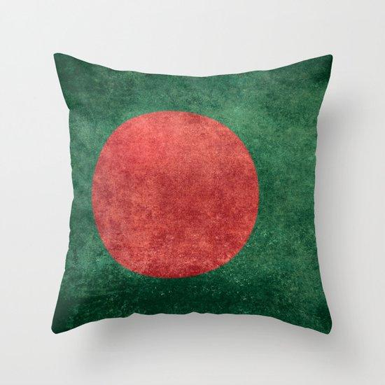 Flag of Bangladesh, Vintage Version Throw Pillow