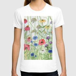 Watercolor of Garden Flower Medley T-shirt
