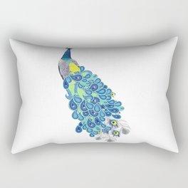 Peacock - Green, Yellow and Gray Rectangular Pillow
