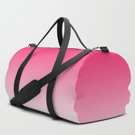 Modern bright simple neon pink white color ombre gradient Duffle Bag
