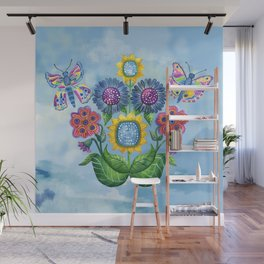Butterflies and Flowers Wall Mural