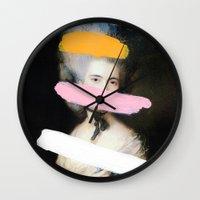 chad wys Wall Clocks featuring Brutalized Gainsborough 2 by Chad Wys