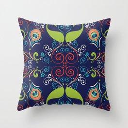 Peacock Nouveau Throw Pillow