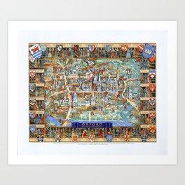 OXFORD university map ENGLAND dorm decor Art Print