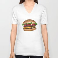 junk food V-neck T-shirts featuring junk food - burger by Bleachydrew