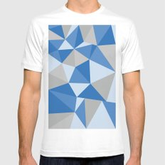 Blue & Gray Geometric White Mens Fitted Tee MEDIUM