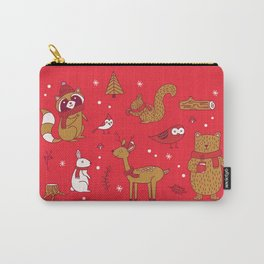 Winter Woodlands - Red Carry-All Pouch