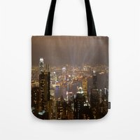 hong kong Tote Bags featuring Hong Kong by Annie Lynch