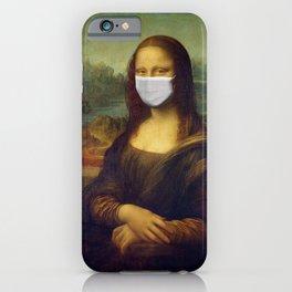 Mona Lisa with Respirator Mask iPhone Case