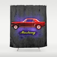 ford Shower Curtains featuring Vintage Ford Mustang by Alan Hogan