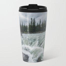 Waterfall View at Athabasca Falls Travel Mug