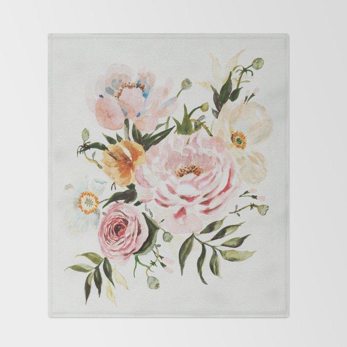 Loose Peonies & Poppies Floral Bouquet Throw Blanket