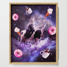 Outer Space Cat Riding Cow Unicorn - Donut Serving Tray