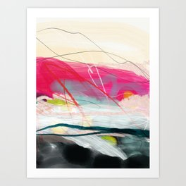 abstract landscape with pink sky over white cloud mountain Art Print