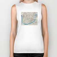 new orleans Biker Tanks featuring New Orleans City Map by Anne E. McGraw