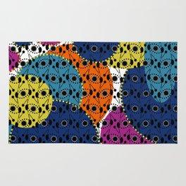 Ethnic style pattern wax, geometric abstract shapes colorful, large round purple, khaki, blue,orange Rug