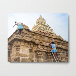 Temple Cleaning Metal Print