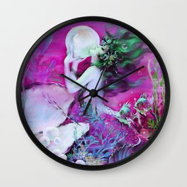 Fuchsia Purple Mermaid With Pearl : Henry Clive Wall Clock