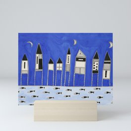 Tiny houses and fish in blue Mini Art Print