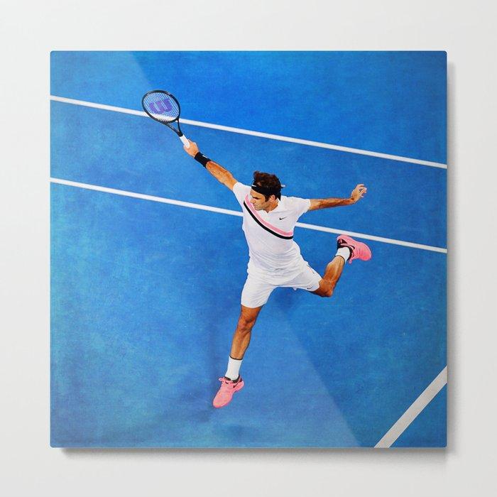 Flying Federer Tennis Backhand Metal Print