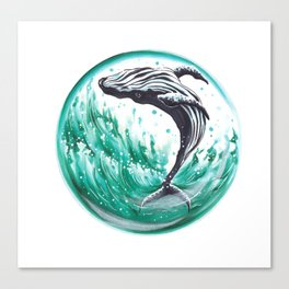 Whale in the bubble Canvas Print