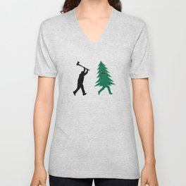 Funny Christmas Tree Hunted by lumberjack (Funny Humor) Unisex V-Neck