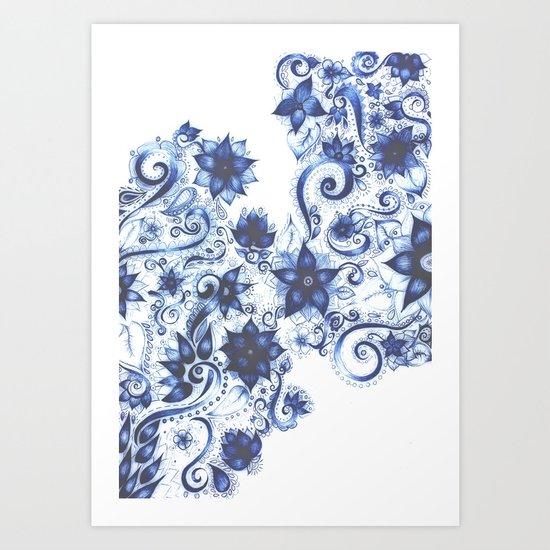 Ballpoint Florals Art Print