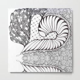 Black and White Art Deco Doodle Design Metal Print