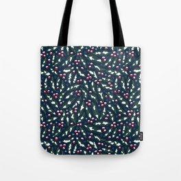 Winter Berries in Navy Tote Bag