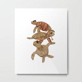 Winter Sea Turtles Metal Print